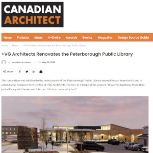 press hit in canadian architect magazine for peterborough public library