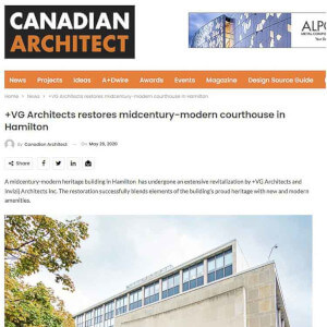 press hit in canadian architect magazine for hamilton courthouse building