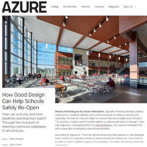 press hit in azure magazine titled how good design can help schools safely re-open, thumbnail