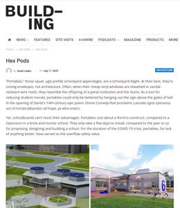 building magazine press hit titled hex pods, thumbnail