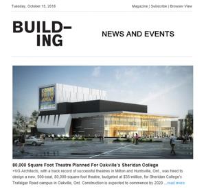 building magazine press hit sheridan college
