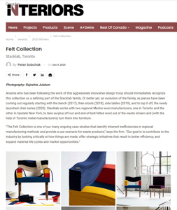 canadian interiors magazine press hit stacklab felt collection