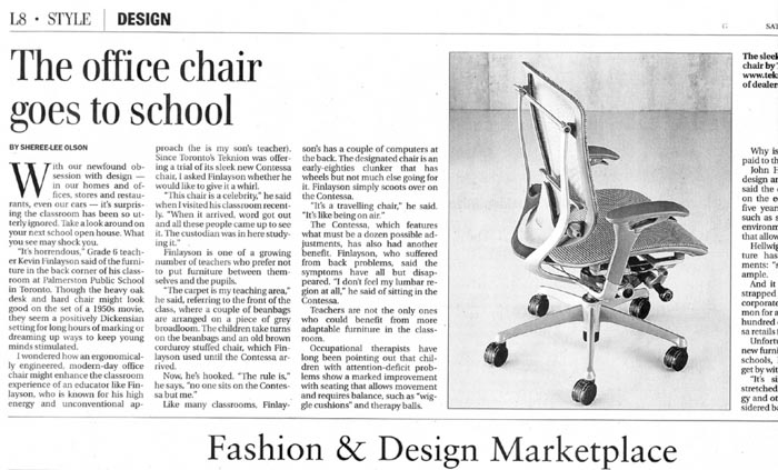 teknion contessa chair press hit in the globe and mail
